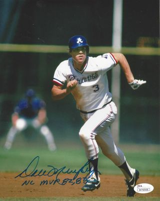 Dale Murphy autographed Atlanta Braves 8x10 photo inscribed NL MVP 82 83 (JSA)