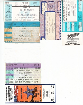 Dallas Cowboys lot of 6 vintage ticket stubs (Troy Aikman Emmitt Smith)
