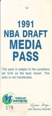 Dallas Mavericks 1991 NBA Draft Media Pass