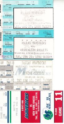 Dallas Mavericks lot of 4 vintage home game ticket stubs