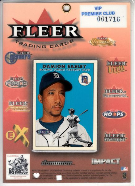 Damion Easley 2000 Fleer National Sports Collectors Convention Press badge or credential laminated