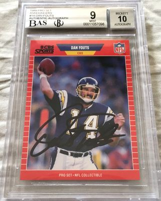 Dan Fouts autographed San Diego Chargers 1989 Pro Set Announcers card BGS graded 9 (BAS authenticated and slabbed)