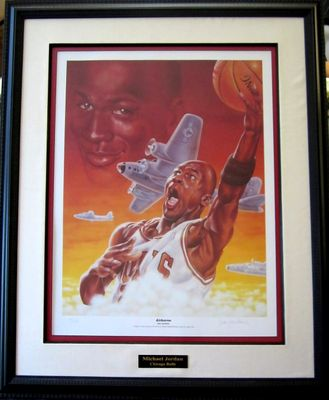 Michael Jordan Airborne 22x30 lithograph autographed by artist Dan Gardiner matted and framed #14/100