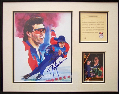Dan Jansen autographed speed skating 11x14 art print matted and framed