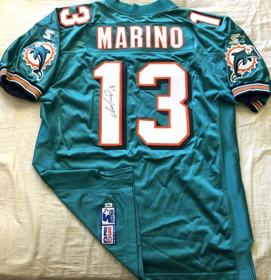 Dan Marino autographed Miami Dolphins 1997 1998 authentic Starter aqua game model jersey (JSA)