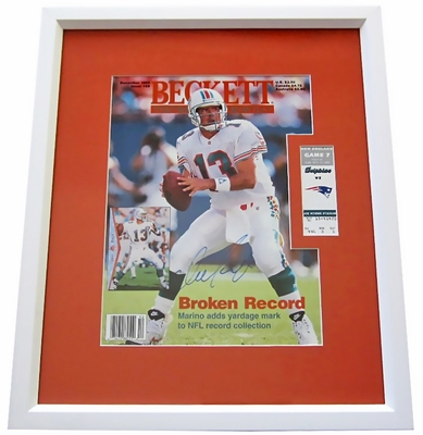 Dan Marino autographed NFL Career Passing Yards record Beckett Football cover matted & framed with original game ticket