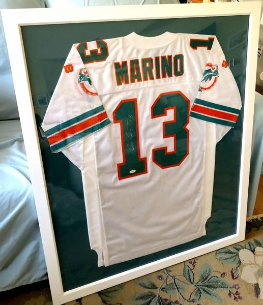 Dan Marino autographed Miami Dolphins 1994 authentic Wilson white game model jersey custom framed (JSA)