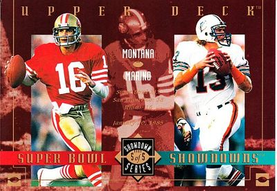 Dan Marino & Joe Montana 1993 Upper Deck Super Bowl Showdowns jumbo card