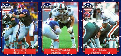 Dan Marino John Offerdahl Kent Hull 1991 Fleer Stars 'n Stripes promo football card strip