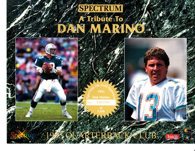 Dan Marino Miami Dolphins 1993 Quarterback Club Spectrum 8x10 promo card sheet