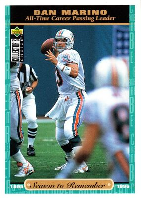 Dan Marino Miami Dolphins 1996 Upper Deck Collector's Choice Season to Remember jumbo card #64