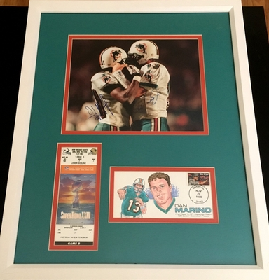 Dan Marino and O.J. McDuffie autographed Miami Dolphins 400th TD 8x10 photo framed with ticket and cachet