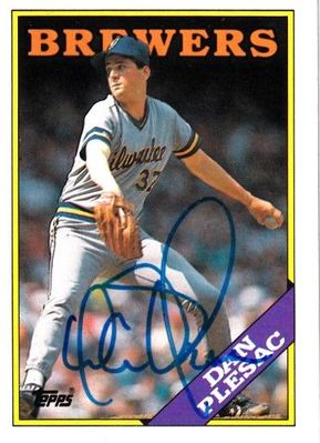Dan Plesac autographed Milwaukee Brewers 1988 Topps card
