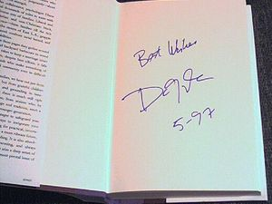 Dan Quayle autographed The American Family hardcover book (dated 5-97)
