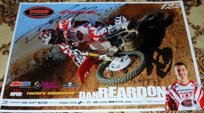 Dan Reardon autographed Honda Racing motocross or supercross mini poster