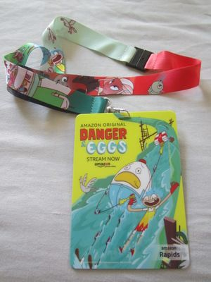 Danger and Eggs and Niko and the Sword of Light 2017 Comic-Con Amazon promo lanyard and laminated badge