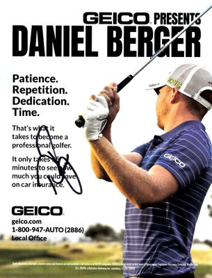 Daniel Berger autographed full page golf magazine GEICO ad