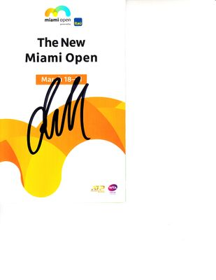 Daniil Medvedev autographed 2019 Miami Open tennis tournament map and program