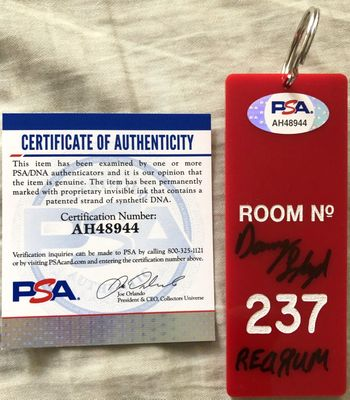 Danny Lloyd autographed The Shining movie Room 237 key fob inscribed REDRUM (PSA/DNA)