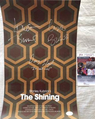 Danny Lloyd Lisa Burns Louise Burns autographed The Shining mini movie poster JSA