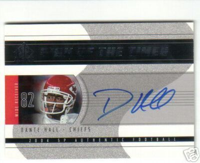 Dante Hall certified autograph Kansas City Chiefs 2004 SP Authentic card