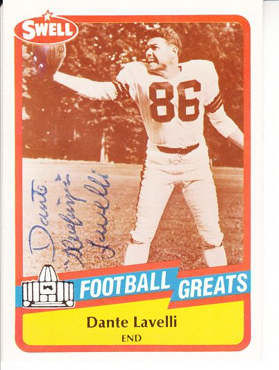 Dante Lavelli autographed 1989 Swell Football Greats Pro Football Hall of Fame card