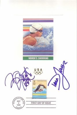 Dara Torres and Brooke Bennett autographed swimming 1996 U.S. Olympic Team USPS 6x9 proof card with First Day of Issue cancellation