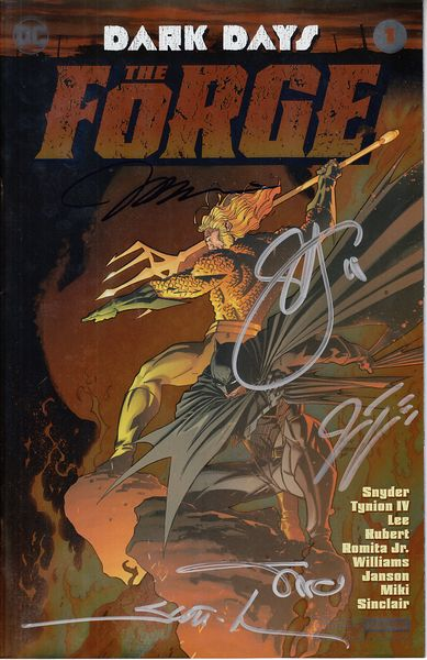 Dark Days Forge DC comic #1 foil cover variant autographed by Jim Lee Alex Sinclair Scott Snyder Scott Williams