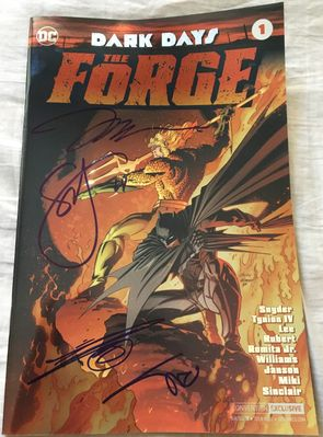 Dark Days Forge DC comic #1 foil cover variant autographed by Jim Lee Danny Miki Alex Sinclair Scott Snyder