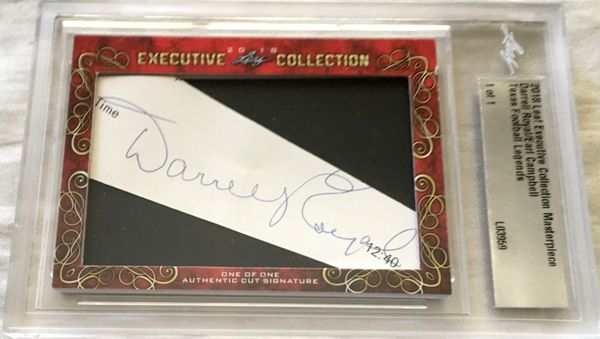 Darrell Royal and Earl Campbell 2018 Leaf Masterpiece Cut Signature certified autograph card 1/1 JSA