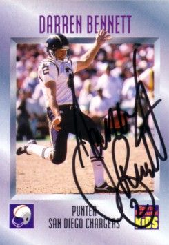 Darren Bennett autographed San Diego Chargers 1996 Sports Illustrated for Kids card