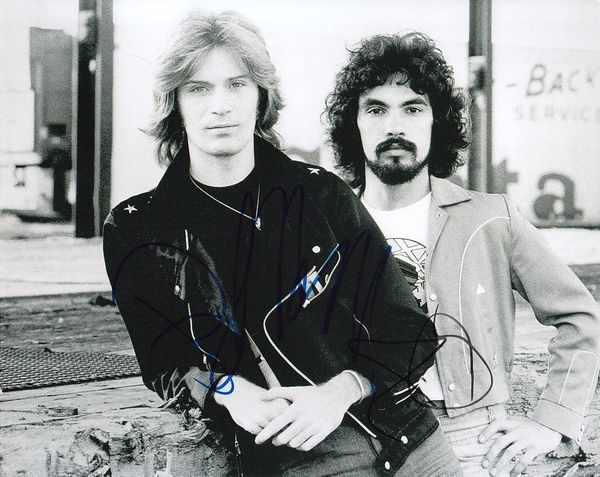 Daryl Hall and John Oates autographed vintage 8x10 black and white photo