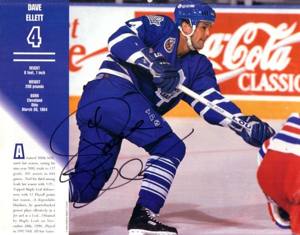 Dave Ellett autographed Toronto Maple Leafs 1994 calendar photo