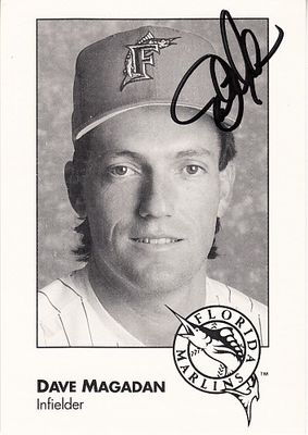 Dave Magadan autographed 1993 Florida Marlins photo card