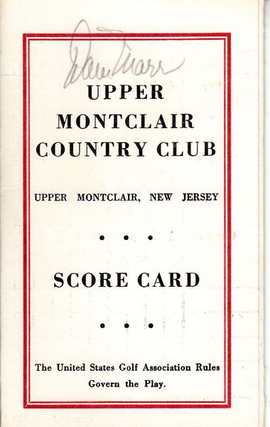 Dave Marr autographed Upper Montclair Country Club 1960s golf scorecard