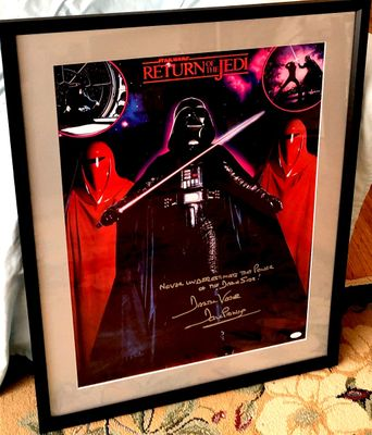 Dave Prowse autographed Star Wars Return of the Jedi movie poster inscribed Darth Vader framed (JSA)