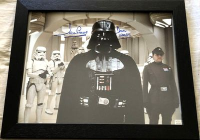 Dave Prowse autographed Star Wars 11x14 movie photo inscribed Darth Vader framed