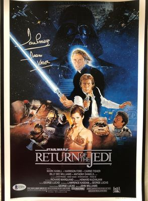 Dave Prowse autographed Star Wars Return of the Jedi movie poster 11x17 print inscribed Darth Vader (BAS authenticated)