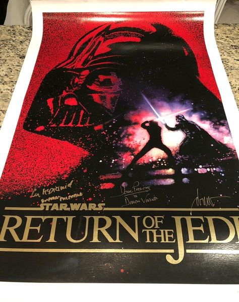 Dave Prowse Ian McDiarmid Drew Struzan autographed Star Wars Return of the Jedi canvas movie poster (BAS authenticated)