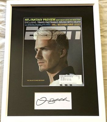 David Beckham autograph matted and framed with MLS LA Galaxy 2007 ESPN Magazine cover