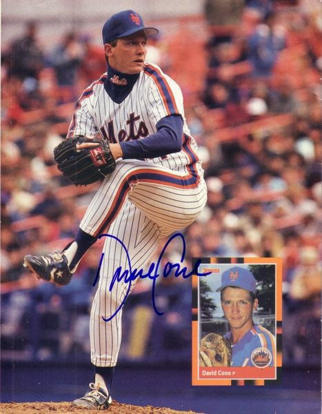 David Cone autographed New York Mets Beckett Baseball back cover photo