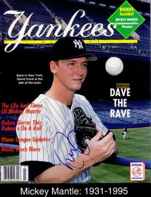 David Cone autographed New York Yankees 1995 magazine