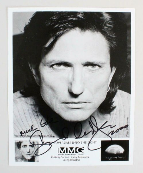 David Coverdale autographed Into the Night 8x10 B&W promotional photo inscribed much love dated 2000 (JSA Auction LOA)