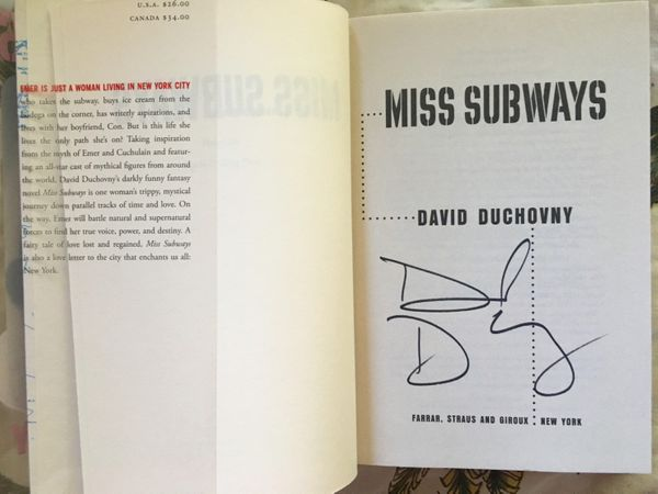 David Duchovny autographed Miss Subways hardcover first edition book