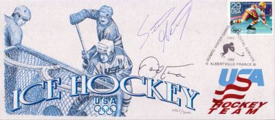 David Emma & Steve Heinze autographed 1992 USA Olympic Hockey USPS cachet