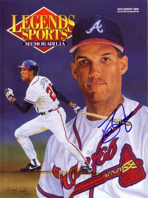 David Justice autographed Atlanta Braves 1992 Legends magazine