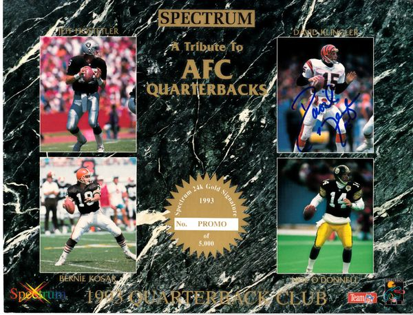 David Klingler autographed 1993 AFC Quarterbacks Spectrum 8x10 photo card