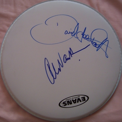 David Lee Roth and Alex Van Halen autographed Evans 12 inch drumhead