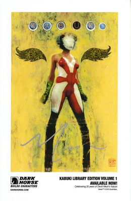 David Mack autographed Kabuki Library 2015 Comic-Con artwork promo card