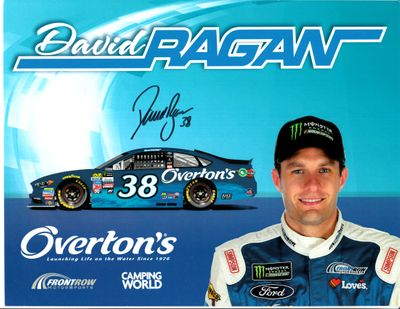 David Ragan autographed 8 1/2 by 11 Overton's 2016 NASCAR photo card